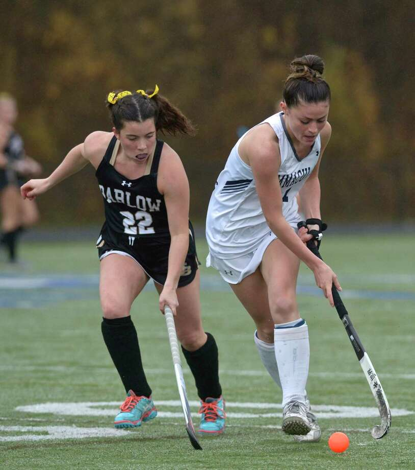 Joel Barlow's Olivia Rodrigues (22) tries to reach the ball controlled by Immaculate's Alexys Garden (17) in the girls SWC Field Hockey South championship game between No. 3 Joel Barlow and No. 1 Immaculate high schools, Friday afternoon, November 13, 2020 at Immaculate High School, Danbury, Conn. Photo: H John Voorhees III / Hearst Connecticut Media / The News-Times