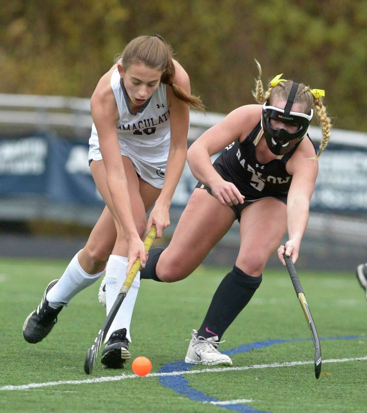 Immaculate's Julia Cirone (10) and Joel Barlow's Ashley Starrett (5) fight for the ball in the championship game between No. 3 Joel Barlow and No. 1 Immaculate high schools, Friday afternoon, November 13, 2020 at Immaculate High School, Danbury, Conn.