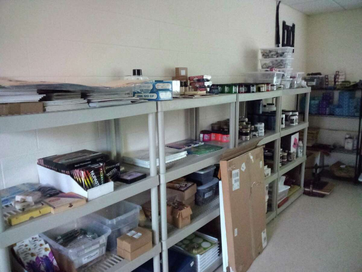Above, donated art supplies at Five Points Center for the Arts, located at the former campus of UConn Torrington.