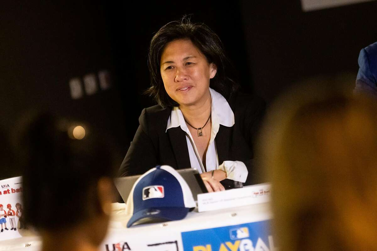 Kim Ng, Sr. VP Baseball & Softball Development for Major League Baseball looks on during Fun at Bat Press Conference on February 20, 2020 in São Paulo, Brazil.
