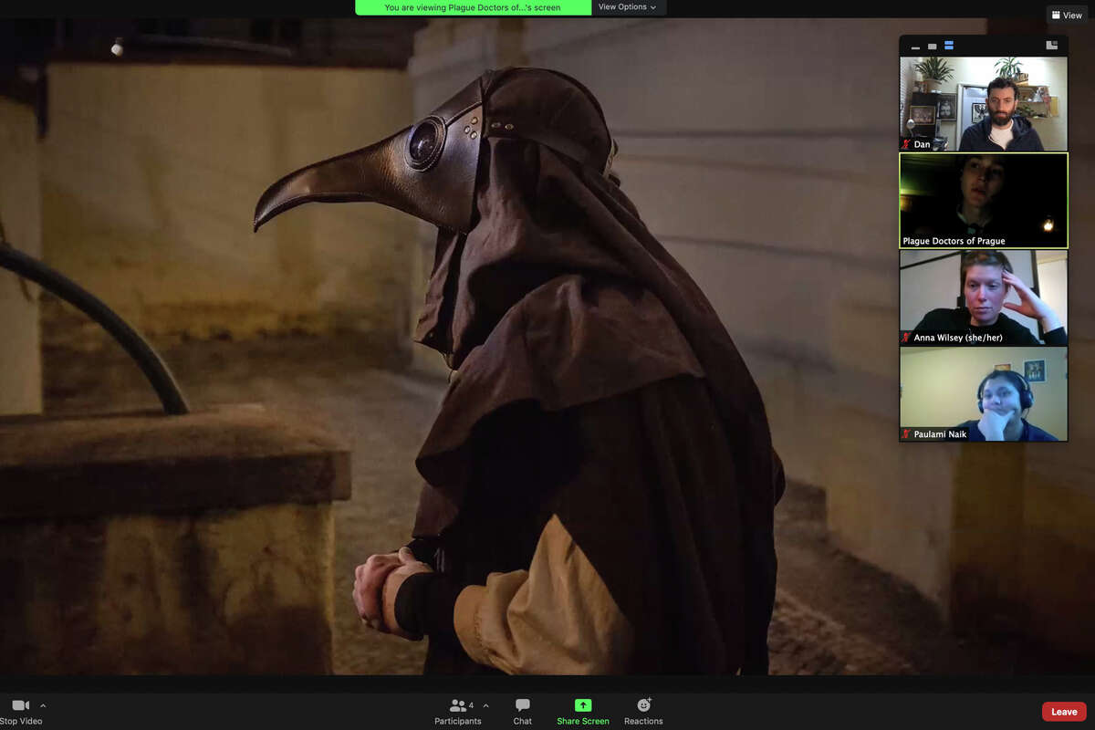 The Airbnb online experience of following a plague doctor through the city of Prague was a unique way to see the city from a distance.