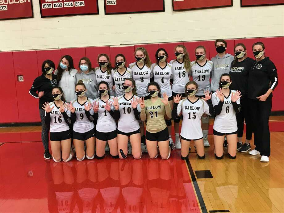 Joel Barlow won the SWC South Region volleyball championship with a 3-1 victory against host Masuk on Friday, November 13, 2020, in Monroe, Connecticut. Photo: David Fierro