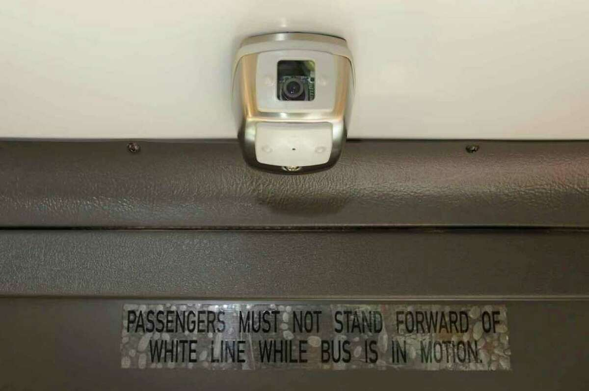 A viseo camera installed on Durham Bus Company school buses in Watervliet. ( Michael P. Farrell / Times Union )