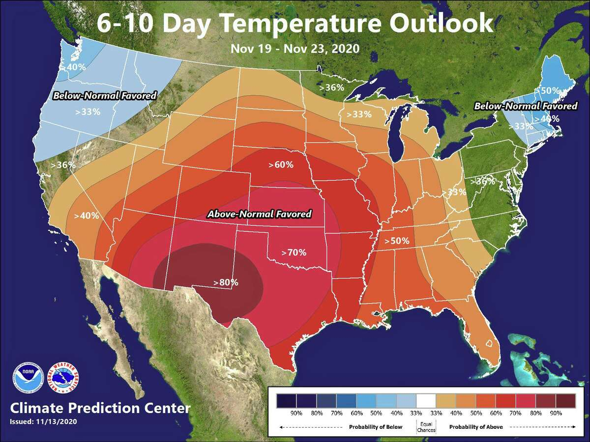 The Climate Prediction Center is forecasting below-normal temperatures through the end of November.