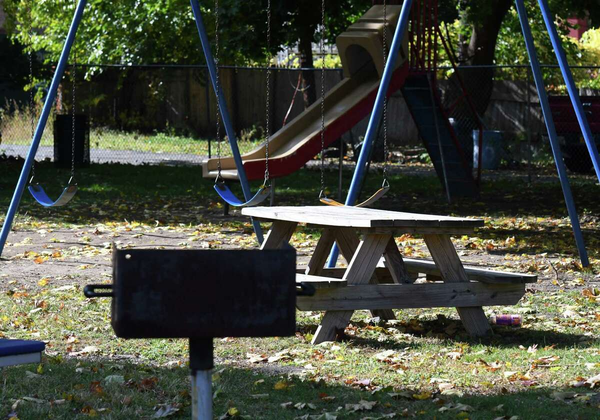 The restored Osgood pocket park on Friday, Oct. 23, 2020, at Third Street and Canal Avenue in Troy, N.Y. Team HERO, a group of Black church leaders and community activist, has rebuilt the city park opposite the Osgood Fire House. (Will Waldron/Times Union)