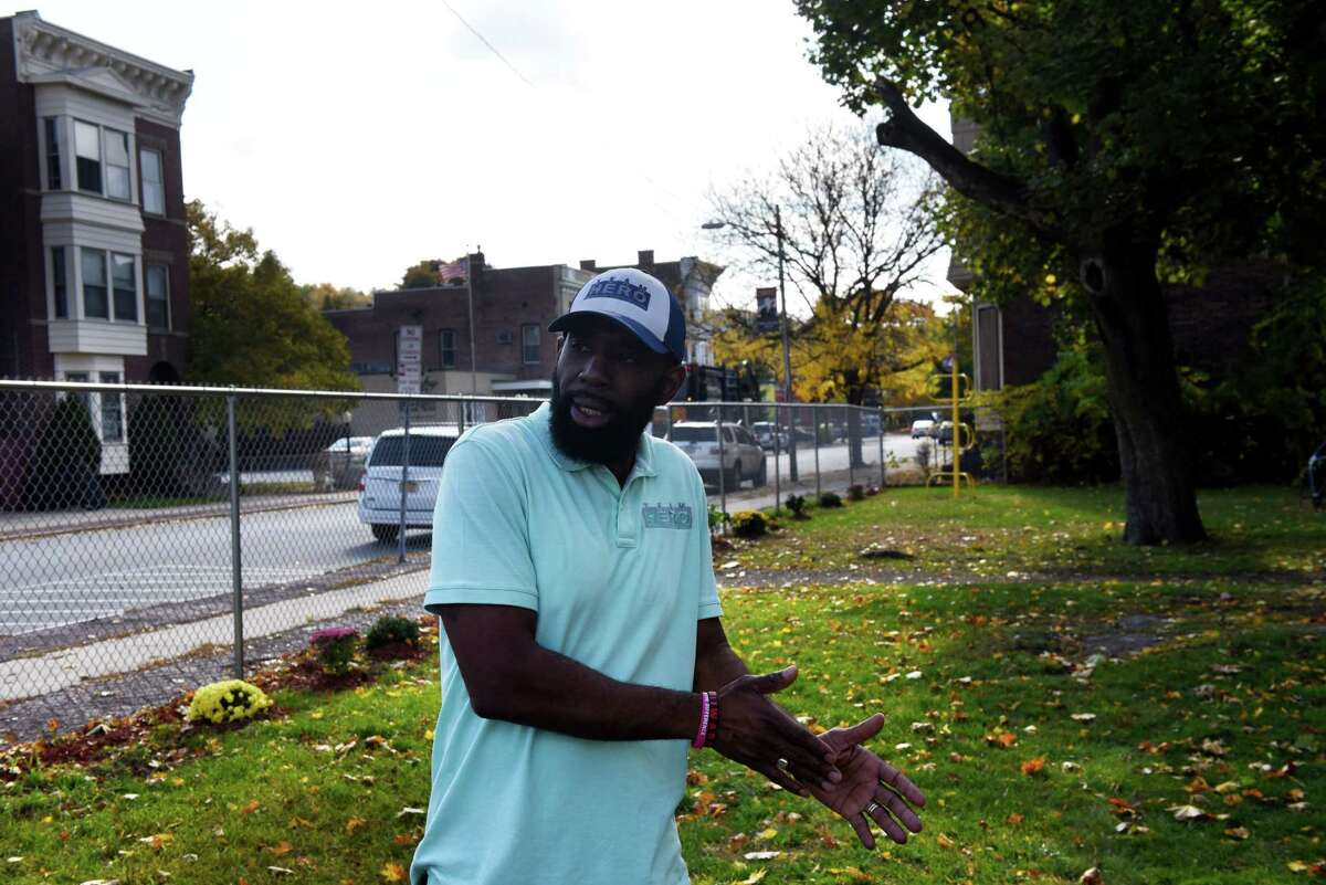 Deacon Jerry Ford of the United Ordained Church stands in the Osgood pocket park which member of his group, Team HERO, came together to rebuild on Friday, Oct. 23, 2020, at Third Street and Canal Avenue in Troy, N.Y. Team HERO, a group of Black church leaders and community activist, has rebuilt the city pocket park opposite the Osgood Fire House. (Will Waldron/Times Union)