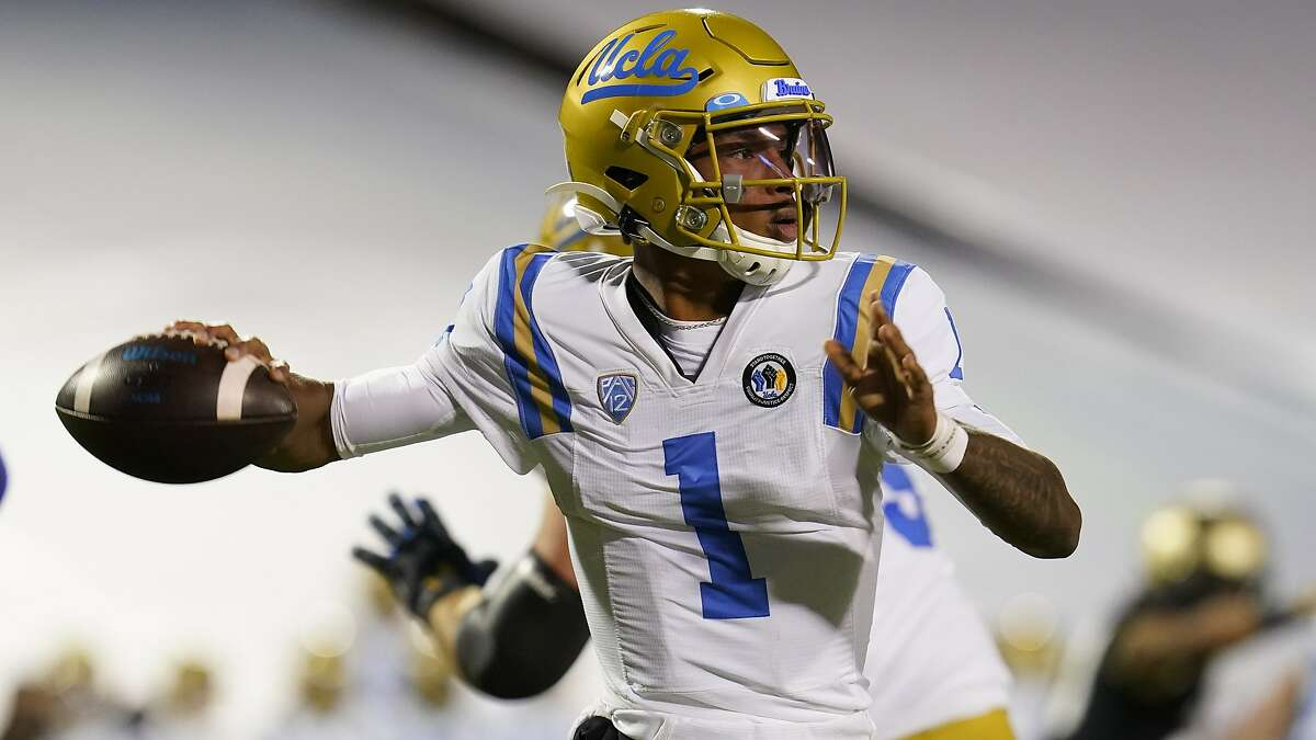 UCLA quarterback Dorian Thompson-Robinson threw for 303 yards and four touchdowns and ran for 109 yards and one touchdown in a 48-42 loss at Colorado on Nov. 7.