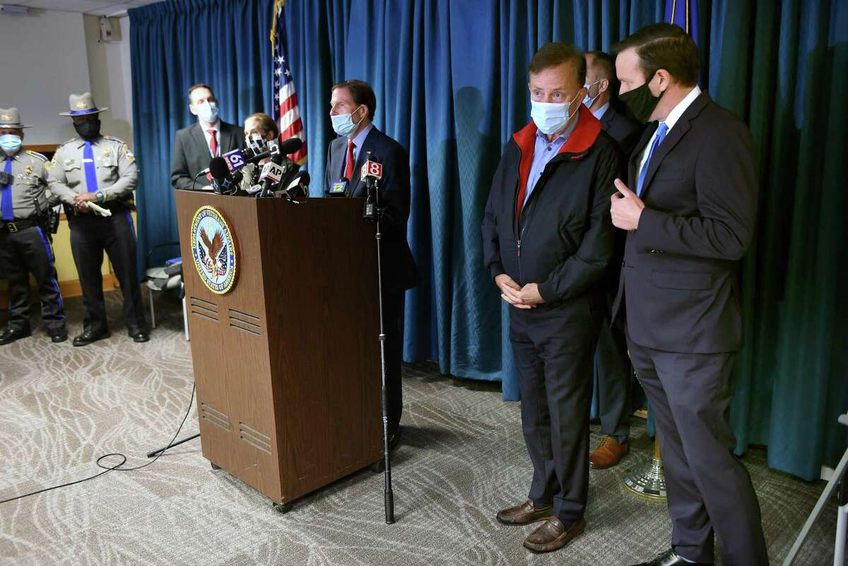 U.S. Senators Richard Blumenthal and Chris Murphy said Saturday, Nov. 14, 2020 they are self-isolating after appearing at a press conference with Gov. Ned Lamont the day before. On Friday, Lamont begin the process of self-quarantining, after his chief spokesman, Max Reiss, tested positive for COVID-19.