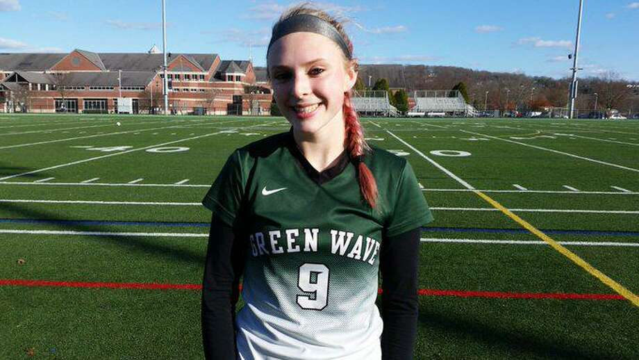 New Milford sophomore Ruby McSherry scores twice to lead host New Milford to a 2-0 win over Newtown in the SWC North final on Saturday. Photo: Dan Nowak / Hearst Connecticut Media
