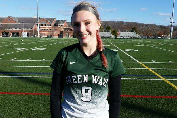 New Milford sophomore Ruby McSherry scores twice to lead host New Milford to a 2-0 win over Newtown in the SWC North final on Saturday.