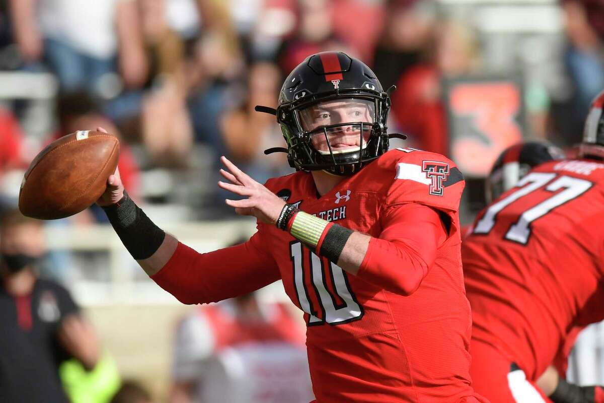 Texas Tech quarterback Alan Bowman (10) looks to throw against Baylor during an NCAA college football game in Lubbock, Texas, Saturday, Nov. 14, 2020.