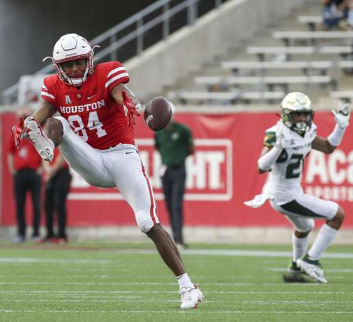 Houston Cougars wide receiver Cole McGowan (84) misses a pass during the third quarter of an NCAA football game Saturday, Nov. 14, 2020, at TDECU Stadium in Houston. Photo: Jon Shapley/Staff Photographer / © 2020 Houston Chronicle
