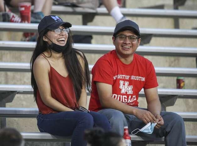 Fans laugh during the fourth quarter of an NCAA football game Saturday, Nov. 14, 2020, at TDECU Stadium in Houston. Photo: Jon Shapley/Staff Photographer / © 2020 Houston Chronicle