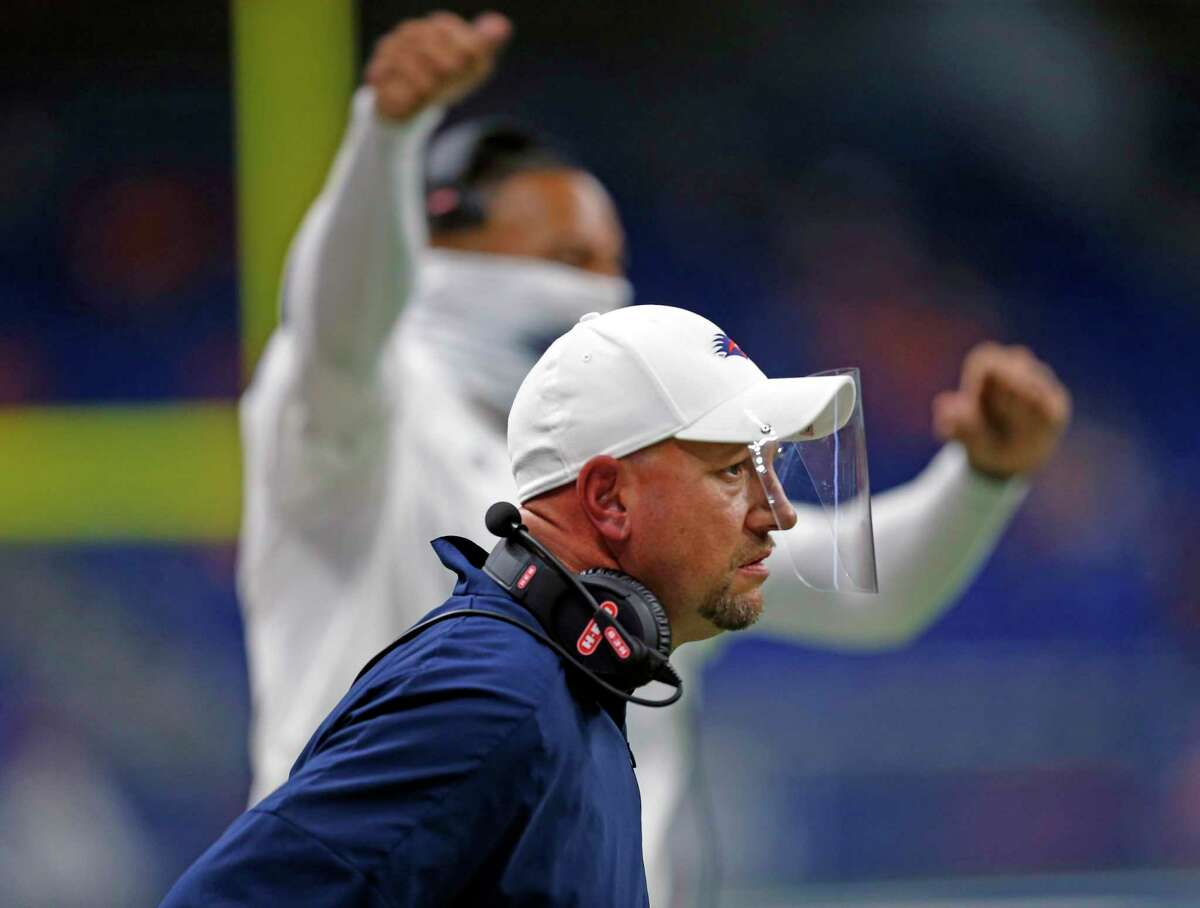 UTSA coach Jeff Traylor was diagnosed with COVID-19 and missed his team's First Responders Bowl game Dec. 26 against Louisiana.