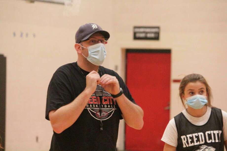 Reed City girls basketball Tim Beilfuss gives his players some instructions during a practice last week. (Pioneer photo/John Raffel)