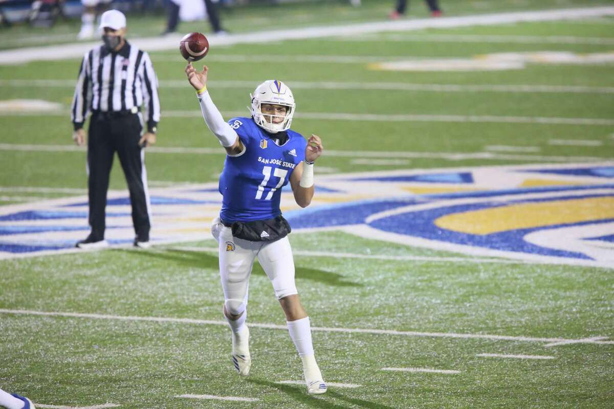 San Jose State quarterback Nick Starkel delivers a pass against UNLV on Saturday night. Starkel threw for 274 yards and two touchdowns in the Spartans' win.
