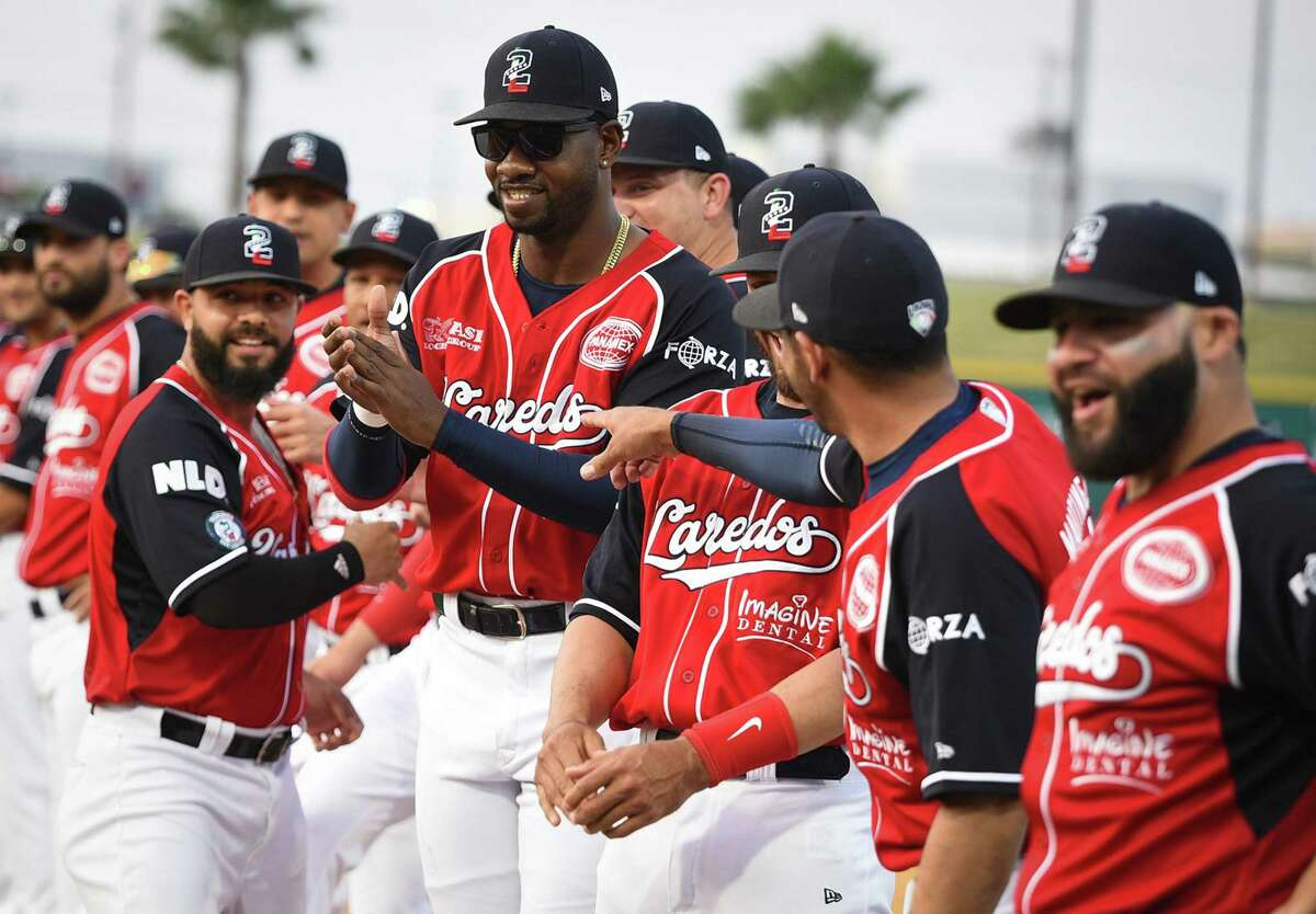 The Tecolotes De Los Dos Laredos celebrate their first game at Uni-Trade stadium this season with a ceremony on Saturday, Apr. 6, 2019.