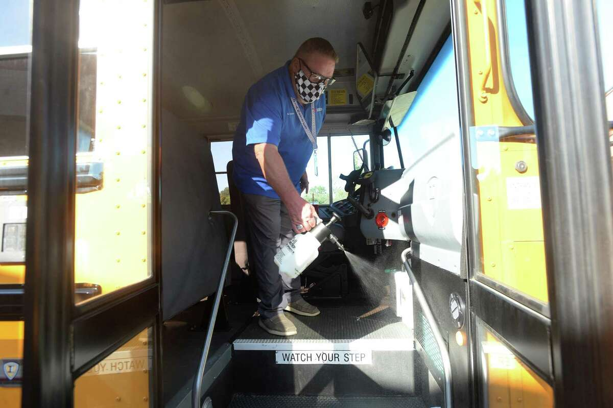 Bennie Huckabay, a BISD driver and route supervisor, shows the cleaning protocols in place after making each run in between student pick-ups and drop-offs. Photo taken Wednesday, September 16, 2020 Kim Brent/The Enterprise