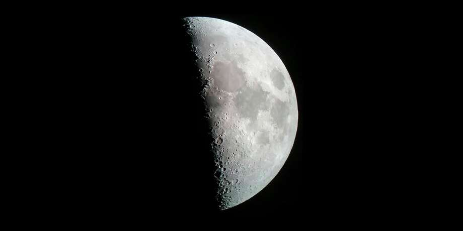 Tuesday, Nov. 17: MSU St. Andrews in Midland will host an an online Zoom astronomy program on the moon at 7 p.m. (Photoby Dr. Edmund Stark, using a cell phone (with a Gosky eyepiece adapter) and Celestron Ultima 80-mm-diameter (3″) spotting scope on an Orion equatorial tripod.)