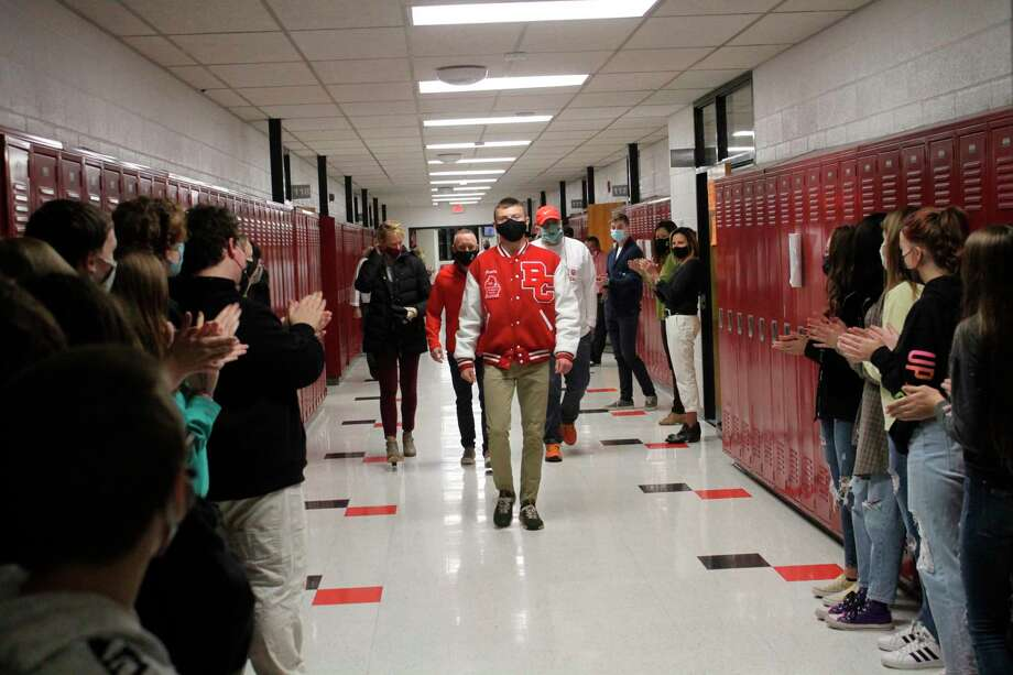 Division 3 state champion Hunter Jones and his coaches are welcomed back to Benzie Central with fanfare on Nov. 12 in celebration of his achievement. (Photo/Robert Myers)