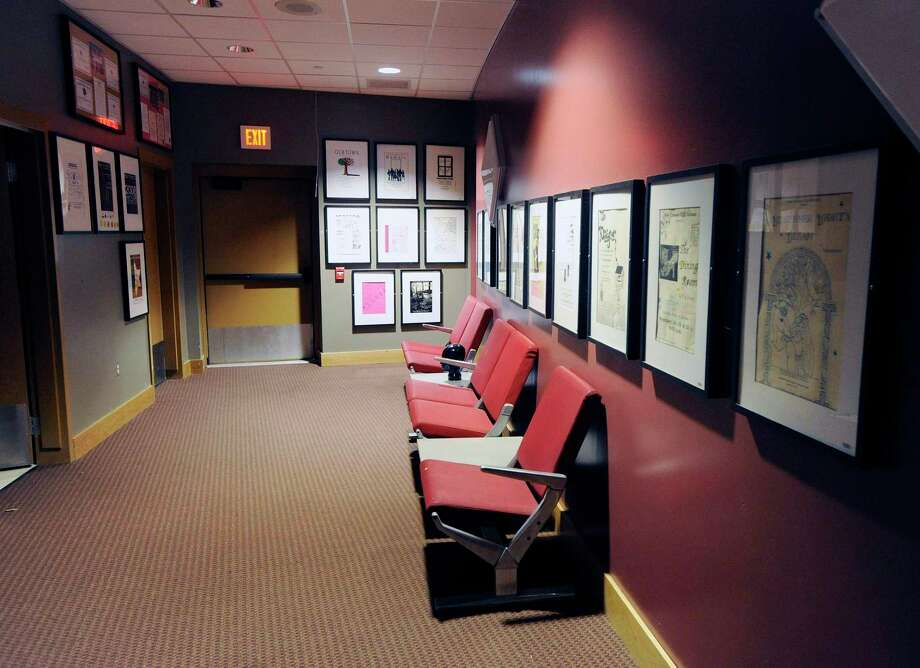 """The interior lobby of the Lapham Auditorium at New Canaan High School is pictured during a previous spring season. The play """"Icarus's Mother"""" by actor Sam Shephard is going to be presented by the New Canaan High School Theatre, Thursday, Nov. 19, Friday, Nov. 20, and Saturday, Nov. 21, online. The school's next production will be """"Hello Girls."""" This production will also be performed for viewing online Thursday, Dec, 3, and Friday, Dec. 4, at 5 p.m. and 7 p.m. Photo: Bob Luckey / Hearst Connecticut Media / Greenwich Time"""