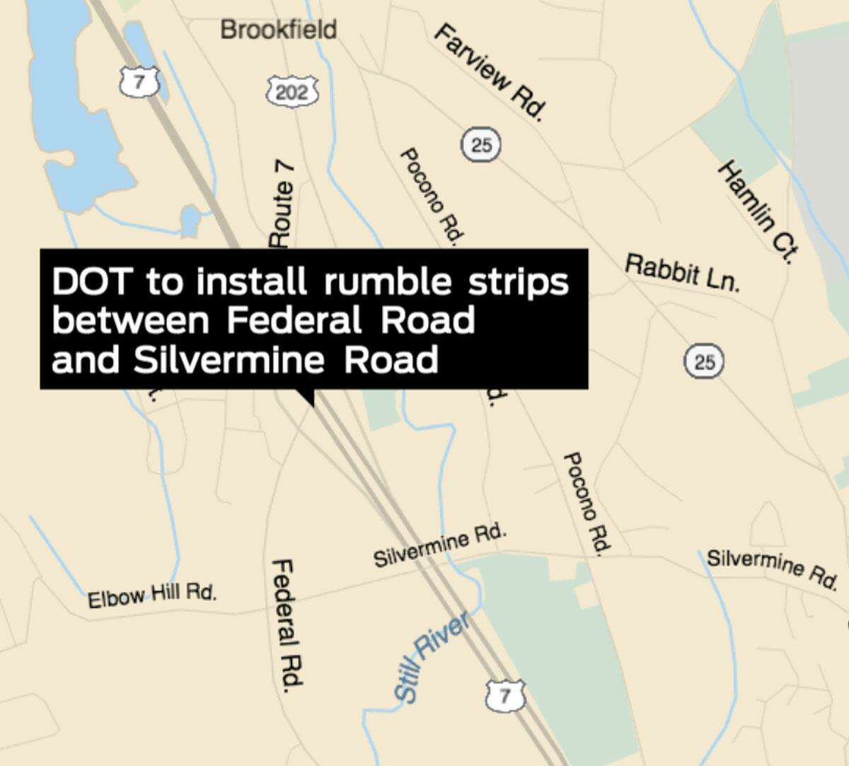 The Connecticut Department of Transportation plans to install rumble strips along Route 7 between Federal Road and Silvermine Road overnight Friday, Nov. 20, and Saturday, Nov. 21.
