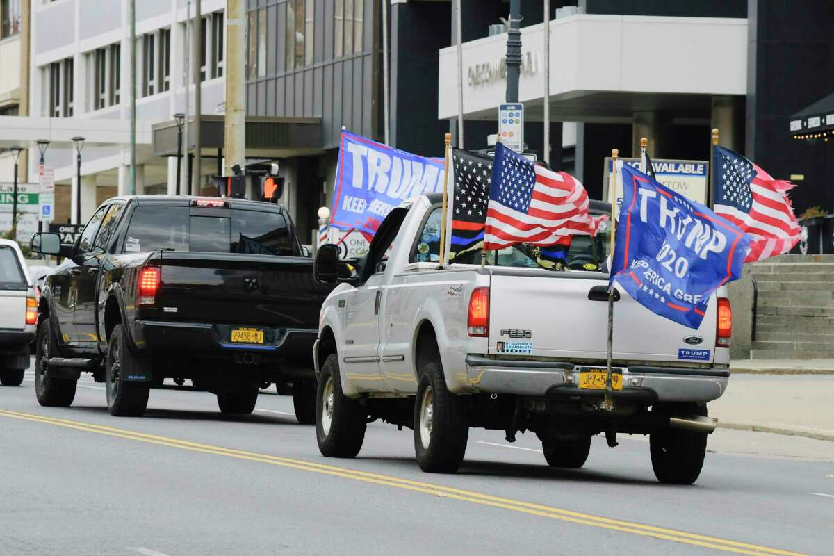 Supporters of President Donald Trump drive around the state Capitol and the downtown area on Sunday, Nov. 15, 2020, in Albany, N.Y. (Paul Buckowski/Times Union)