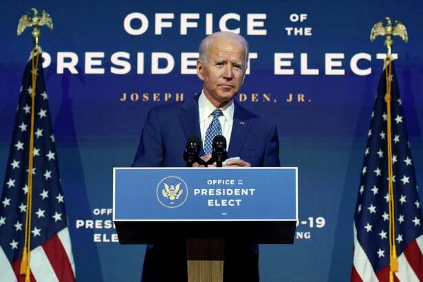 In this file photo President-elect Joe Biden speaks in Wilmington, Del. The Gulf of Mexico and other federally controlled oil regions across the Western United States face an uncertain future under President-elect Joe Biden, who has pledged to halt oil and gas leasing on federal lands and waters to fight climate change.