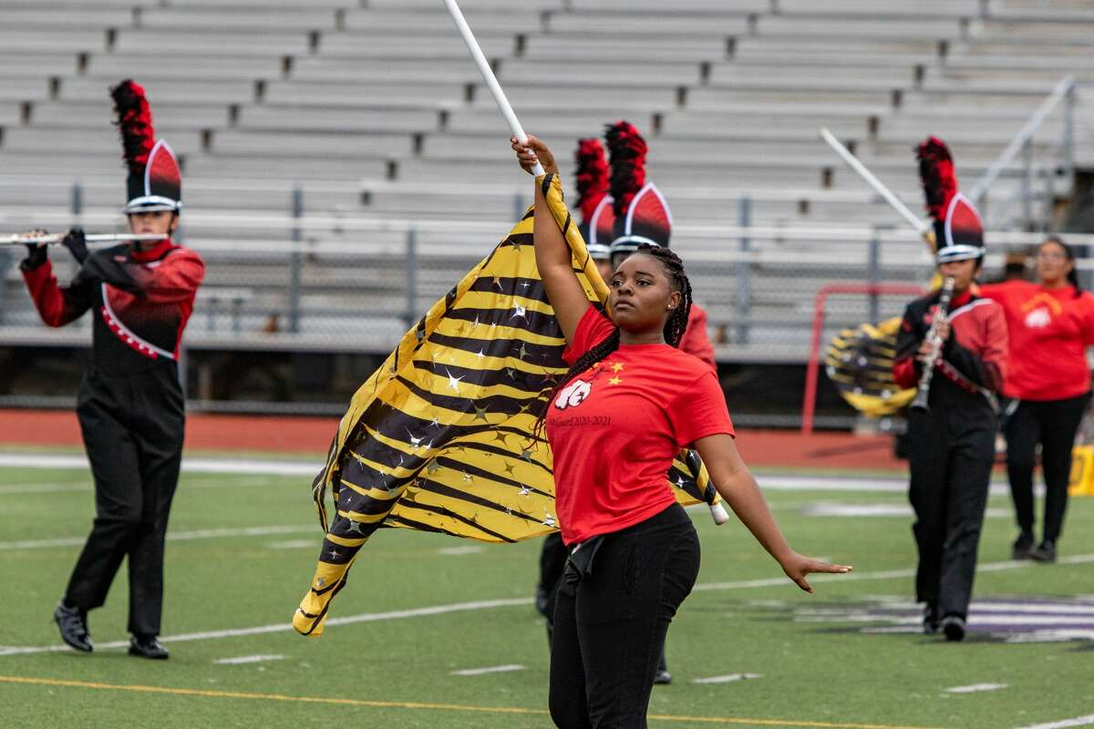 The Jasper High School Marching Band performs during the UIL - Region X Marching Band Contest held at Port Neches-Groves High School Saturday afternoon with many area bands participating. Photo made on November 14, 2020. Fran Ruchalski/The Enterprise