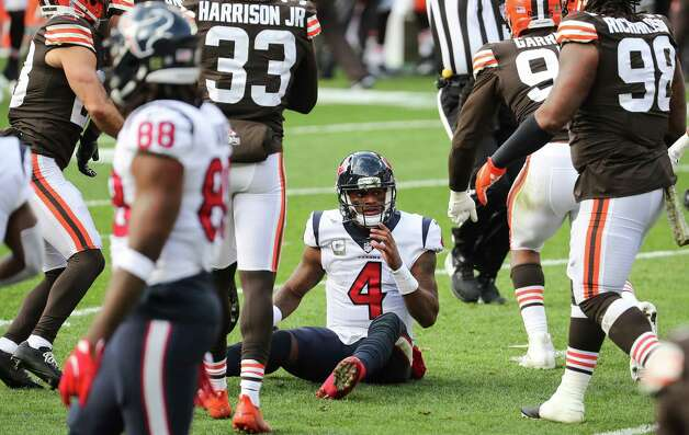 Houston Texans quarterback Deshaun Watson (4) sits on the turf after he was stopped short of the goal line, on fourth and goal, by the Cleveland Browns defense during the first half of an NFL football game at FirstEnergy Stadium Sunday, Nov. 15, 2020, in Cleveland. Photo: Brett Coomer, Staff Photographer / © 2020 Houston Chronicle
