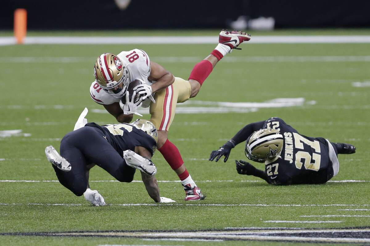 San Francisco 49ers tight end Jordan Reed (81) pulls in a pass in the first half of an NFL football game against the New Orleans Saints in New Orleans, Sunday, Nov. 15, 2020. (AP Photo/Brett Duke)