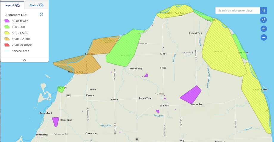 The DTE Energy Outage Map shows outages around Huron County as of 5:28 p.m. Sunday. Photo: Courtesy Of DTE Energy