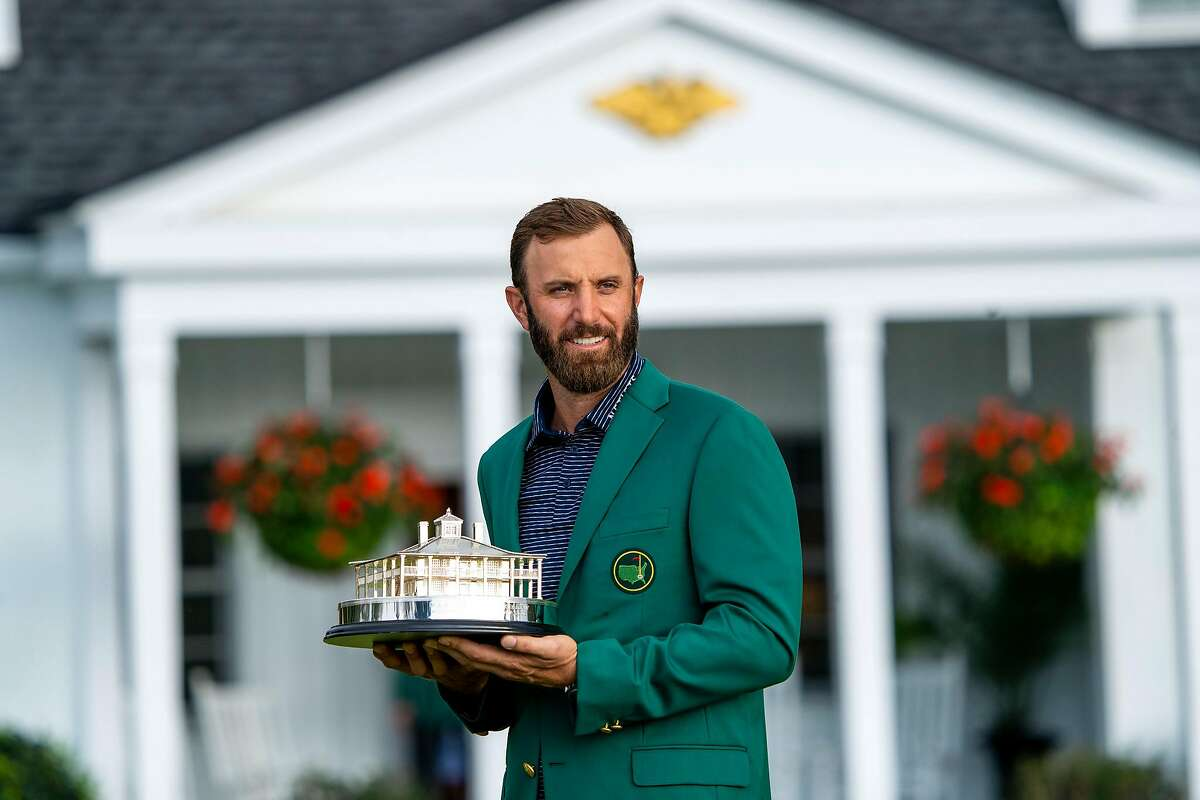 Dustin Johnson after winning the Masters Tournament in Augusta, Ga., on Sunday, Nov. 15, 2020. Johnson won the 2020 Masters and set a scoring record at 20-under par, two strokes better than the record, held jointly by Tiger Woods and Jordan Spieth. (Doug Mills/The New York Times)