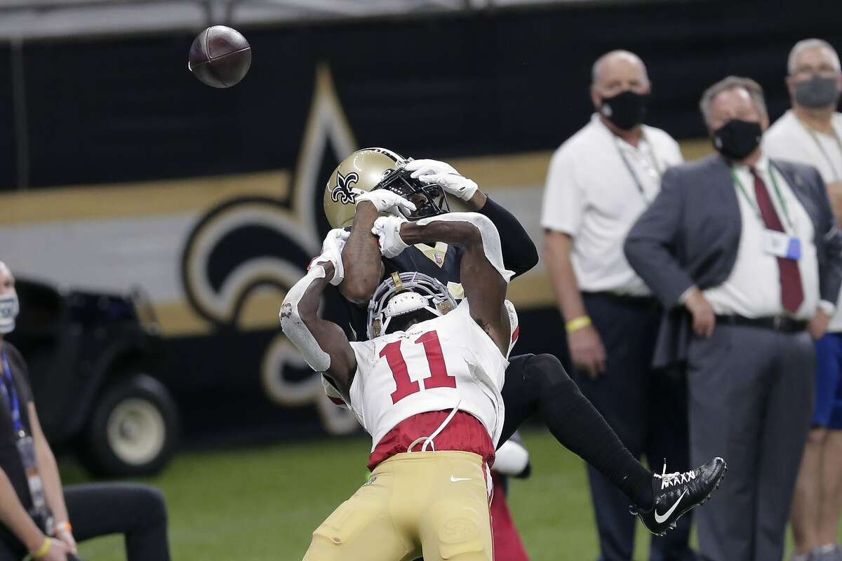 New Orleans Saints cornerback Janoris Jenkins breaks up a pass intended for San Francisco 49ers wide receiver Brandon Aiyuk (11) in the second half of an NFL football game in New Orleans, Sunday, Nov. 15, 2020.