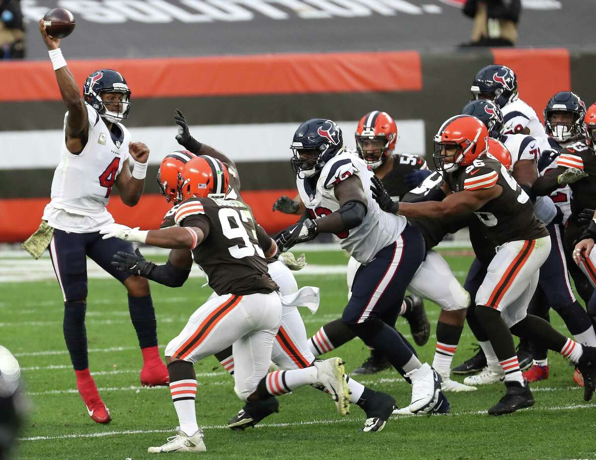 The Texans' offense had its issues Sunday in Cleveland but passing in the inclement weather wasn't one of them for quarterback Deshaun Watson.