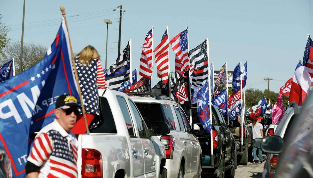Crowd begins to gather for rally and caravan. Trump Rally starting at Cowboy Dance All on Sunday, November 15, 2020.