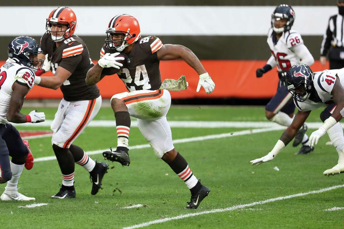 After the Browns' Nick Chubb gashed them for 126 yards last season, the Texans will look to keep him and backfield mate Kareem Hunt under wraps Sunday.