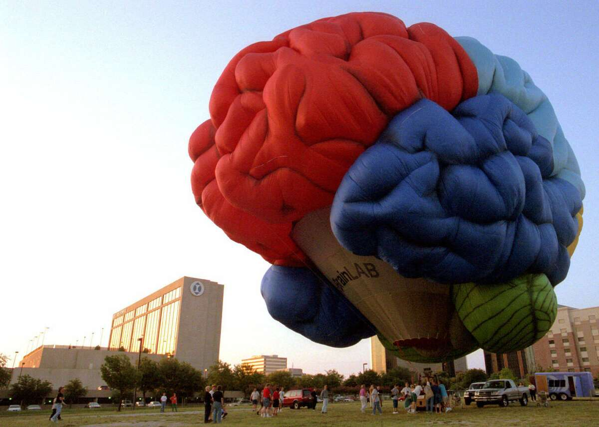 A hot air balloon in the shape of a human brain at an annual Mensa gathering in Addison, Texas in 2001.
