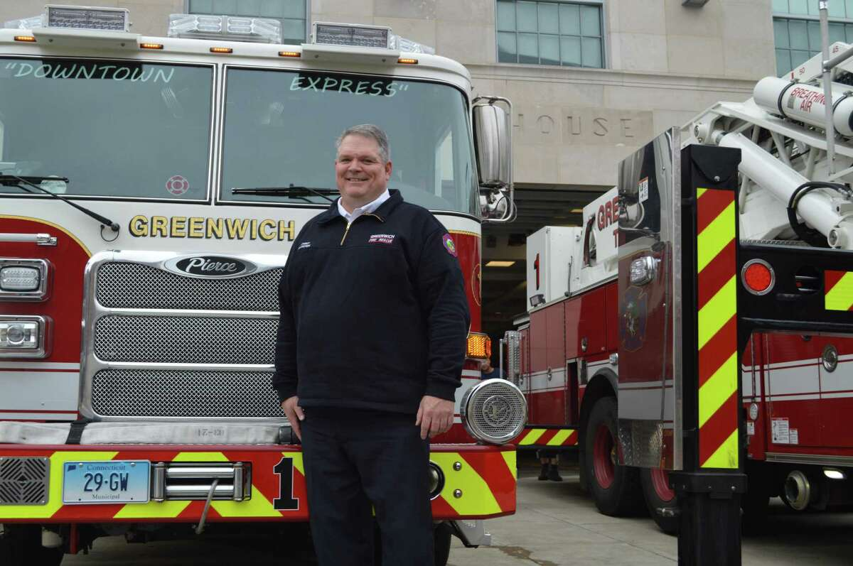Greenwich Fire Chief Joseph McHugh was sworn in as the department's new chief after a lengthy career in New York City.