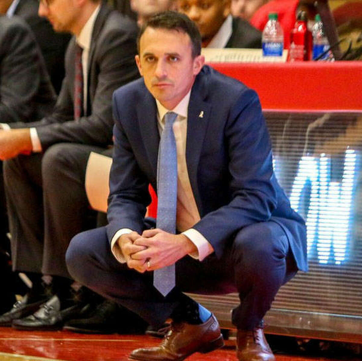 SIUE men's basketball coach Brian Barone watches intently from the sideline during a game last season.