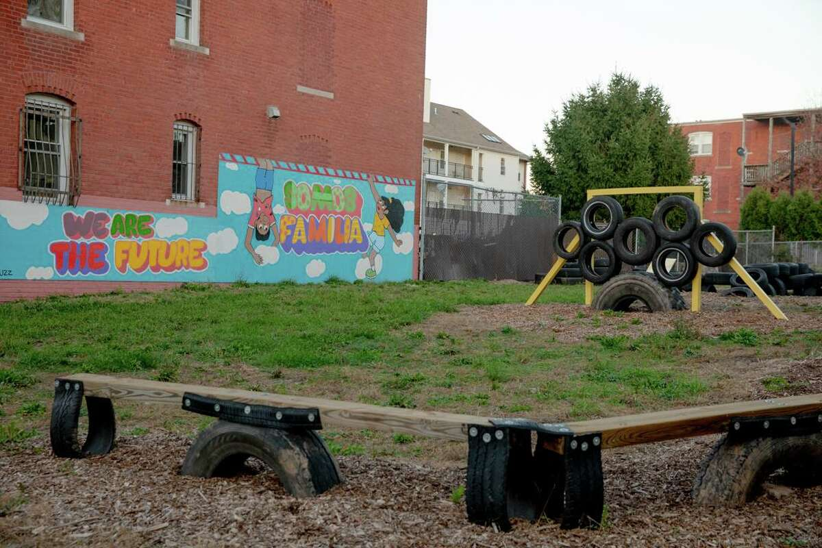 A playground was built this year in the Frog Hollow neighborhood of Hartford with help of community groups.