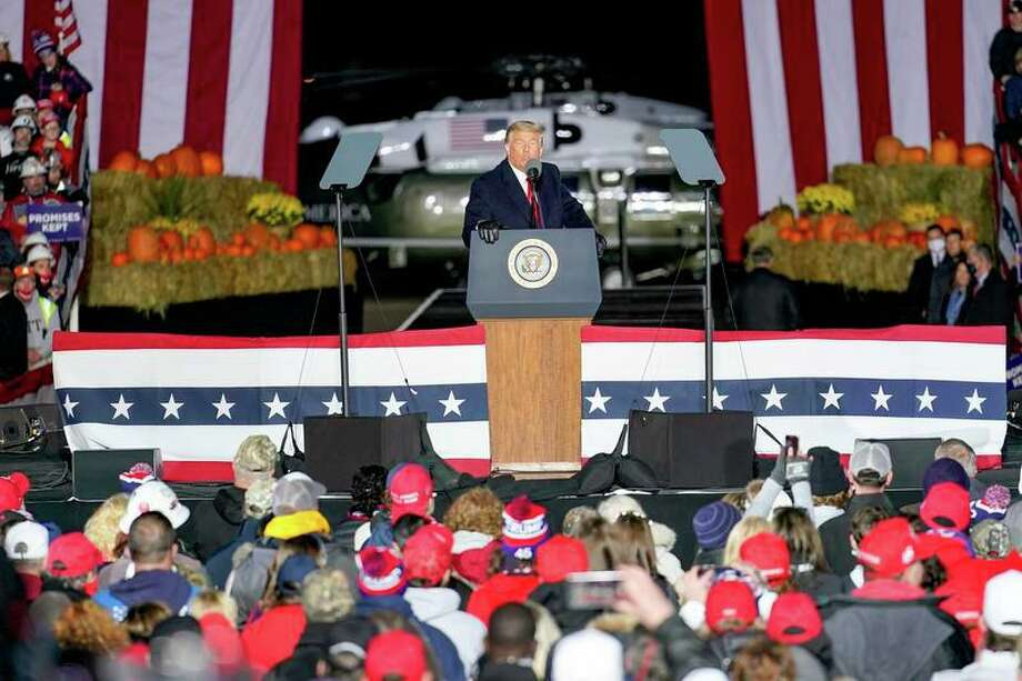 President Donald Trump addresses the crowd during a campaign stop, Saturday, Oct. 31, 2020, at the Butler County Regional Airport in Butler, Pennsylvania. Photo: AP Photo /Keith Srakocic