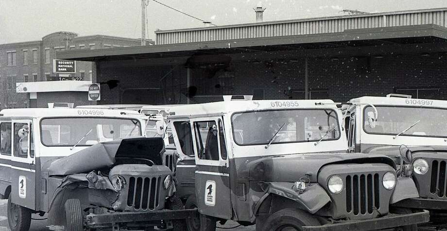 Three mail trucks were severely damaged by a driver in the early morning hours of Saturday, Nov. 15, 1980. The above photo was published in the News Advocate 40 years ago today. (Manistee County Historical Museum photo)