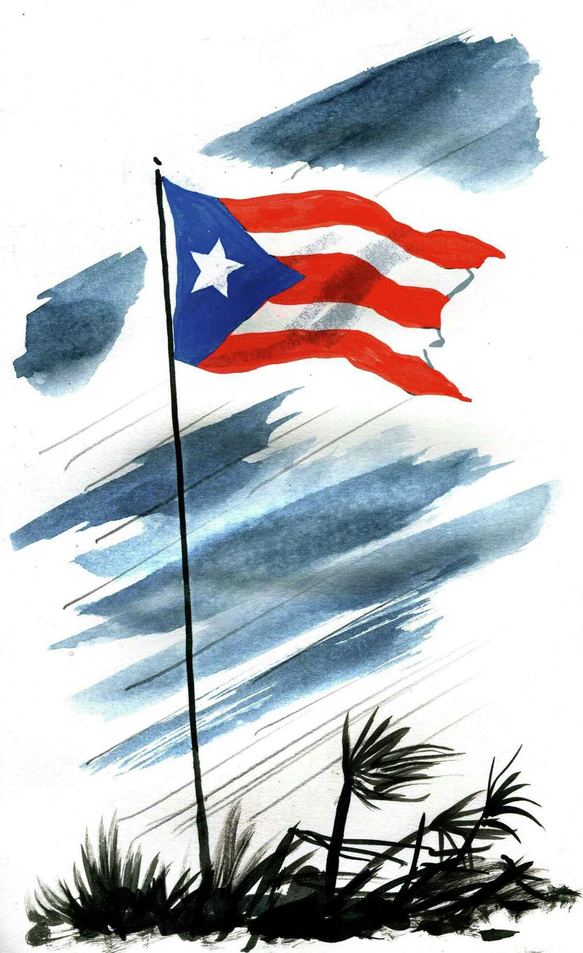 This artwork by Mark Weber refers to Puerto Rico and the aftermath of Hurricane Maria.