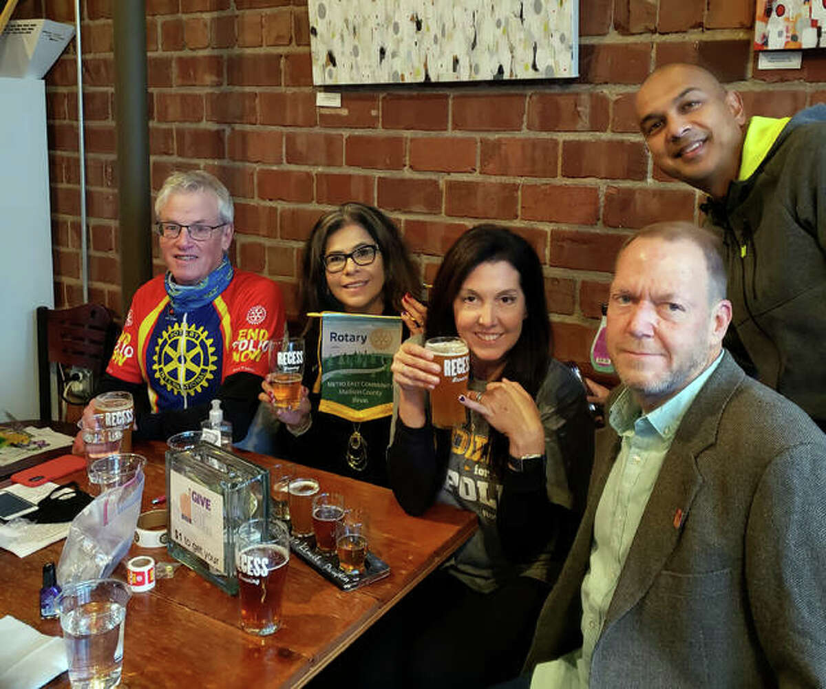 Left to right, Rotary Club District 6060 Governor Tom Drennan, Metro East Community Rotary Club members Marge Ogle, Molly Makin and John Makin and Goshen Rotary Club President Gireesh Gupchup gathered on Oct. 24 for the Pints for Polio fundraiser at Recess Brewing in Edwardsville.