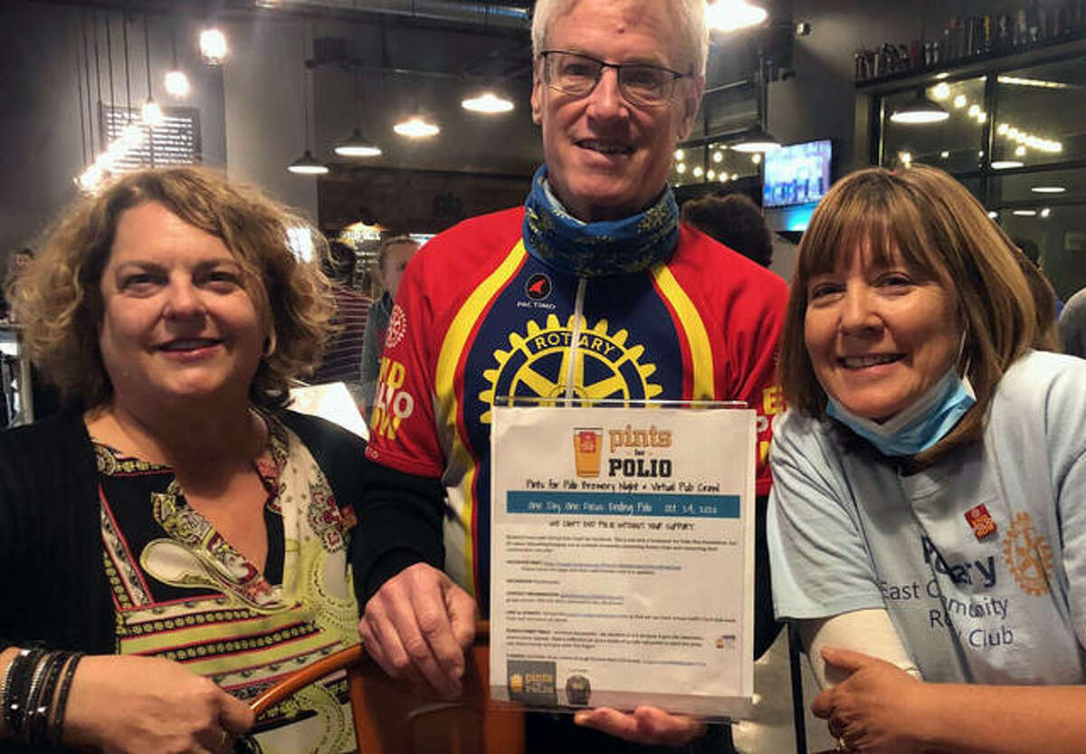 Left to right, Andrea Wetzel-Darbon from Metro East Community Rotary Club, Rotary Club District 6060 Governor Tom Drennan and Becky Schrage from Metro East Community Rotary Club gathered on Oct. 24 for the Pints for Polio fundraiser at Global Brew Tap House in Edwardsville.