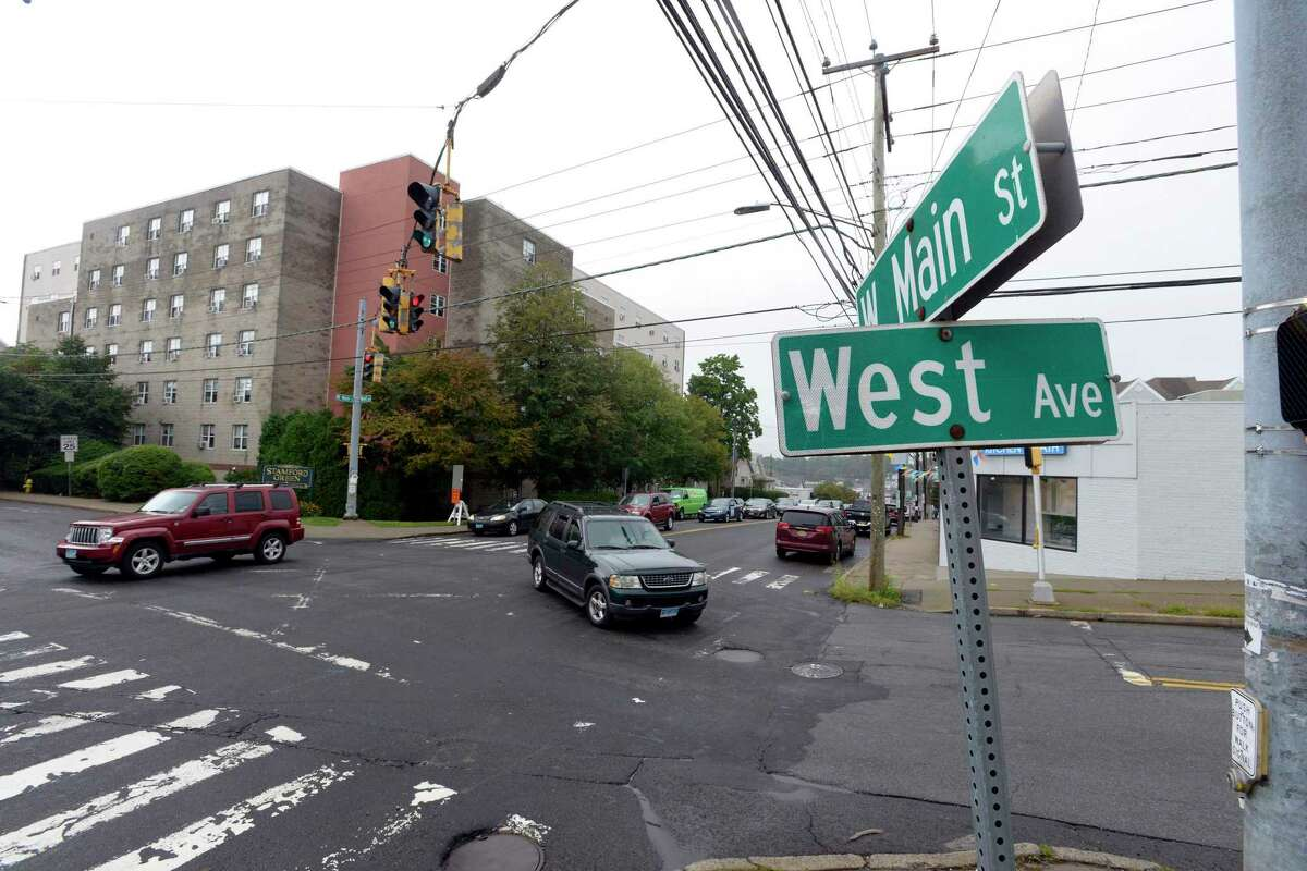 The intersection of West Main Street and West Avenue in Stamford, Connecticut.