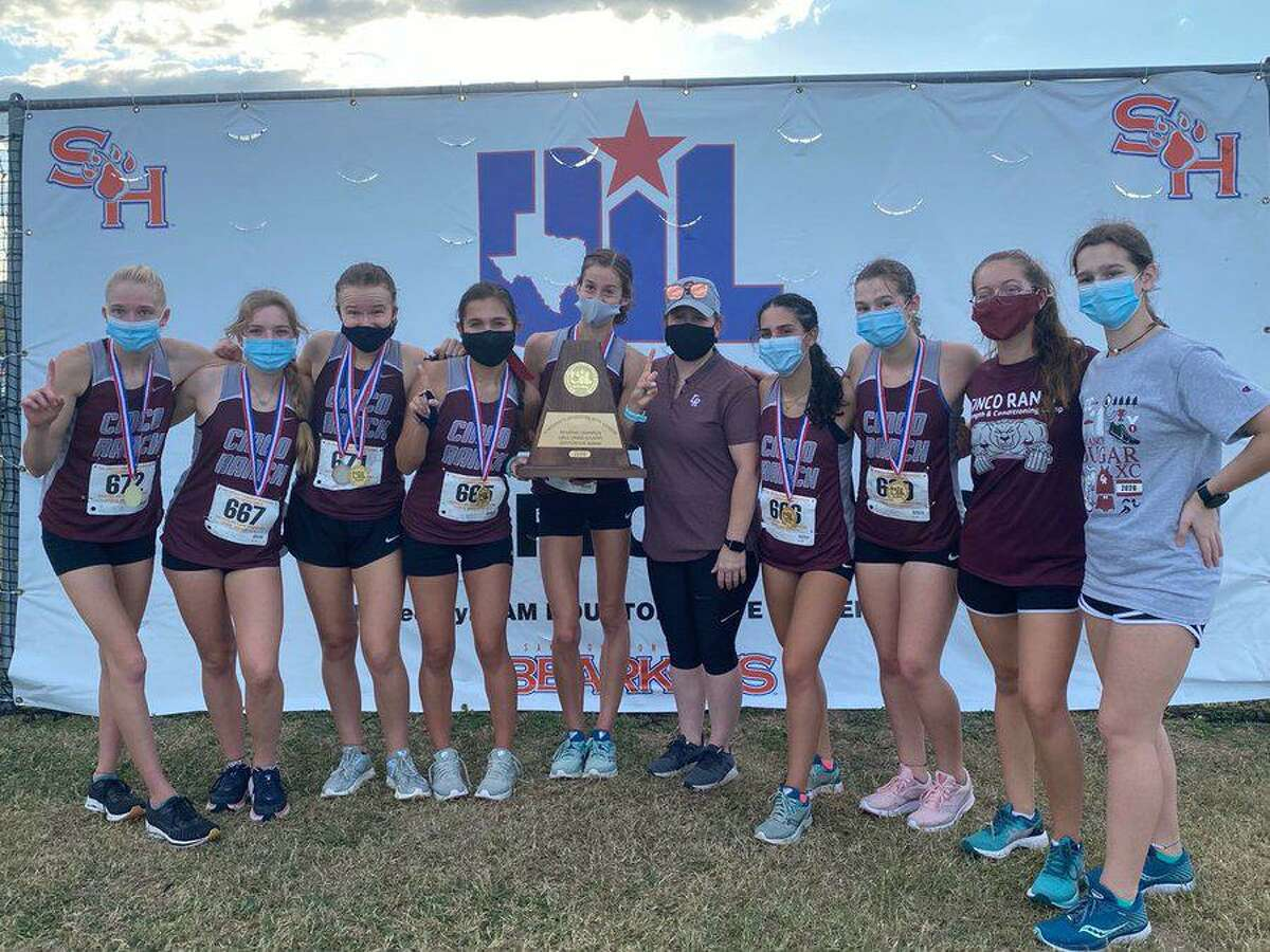 The Cinco Ranch girls cross country team of Sophie Atkinson, Heidi Nielson, Alison Mueller, Helen Ulrich, Camila Corser, Lindsay Krippner and Natalia Corser won the Region III-6A championship, clinching a spot at the UIL state meet.