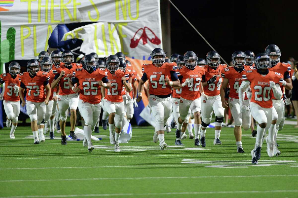 The Seven Lakes Spartans take the field for a 19-6A football game against the Mayde Creek Rams on Friday, November 13, 2020 at Legacy Stadium, Katy, TX.