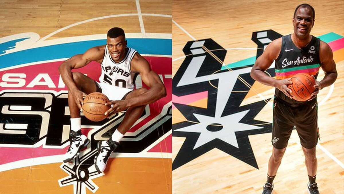 Fans spent the last few years petitioning the Spurs for a reintroduction of the vintage 1990s logo. On Friday, the Spurs delivered with jerseys that are reminiscent of the old school team warmups which will launch on Dec. 3. The Spurs added to the hype Monday morning by releasing a sneak peek of the coordinating homecourt design, which features the Spur logo with bands of aqua, orange and pink in the background.